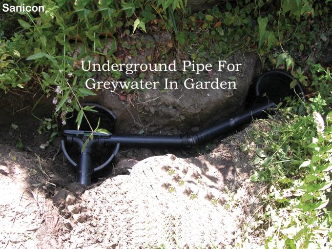underground pipe for greywater in garden